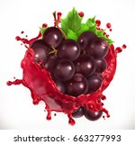 red wine and grapes. fresh... | Shutterstock .eps vector #663277993