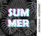 sign summer sale with distorted ... | Shutterstock .eps vector #663283663
