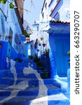 Small photo of Allay of Chefchaouen, Morocco, the striking, variously hued blue-washed old town. Medina of Chefchaouen, Morocco. The Blue City of Morocco