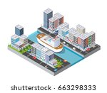 cruise boat and naval ships... | Shutterstock .eps vector #663298333