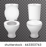 isolated toilet ceramic seat... | Shutterstock .eps vector #663303763
