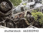 engines and hull of wrecked...   Shutterstock . vector #663303943