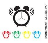 alarm clock icon vector on... | Shutterstock .eps vector #663308497