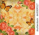 floral paper card vintage... | Shutterstock . vector #663309517