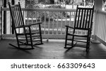 Two Empty Rocking Chairs. Two...