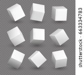cube 3d models in perspective.... | Shutterstock .eps vector #663334783