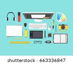 cartoon designer workplace top... | Shutterstock . vector #663336847