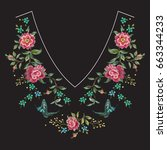 embroidery neck line floral...
