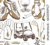 seamless golf pattern with... | Shutterstock .eps vector #663350917