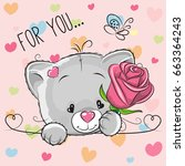 greeting card cute cartoon... | Shutterstock . vector #663364243