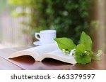 open book with white coffee cup ... | Shutterstock . vector #663379597