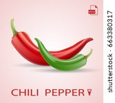 red and green hot natural chili ... | Shutterstock .eps vector #663380317