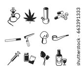 drugs icons set. marijuana... | Shutterstock .eps vector #663391333