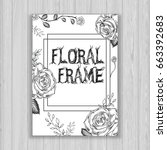 Stock vector floral frame with white roses brochure 663392683