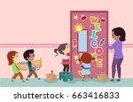 illustration of stickman kids... | Shutterstock .eps vector #663416833