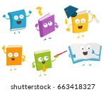 collection of cute book... | Shutterstock .eps vector #663418327