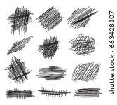 scribble brush strokes set ... | Shutterstock .eps vector #663428107