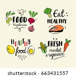 healthy food hand drawn... | Shutterstock .eps vector #663431557