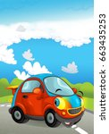 cartoon sports car smiling and... | Shutterstock . vector #663435253