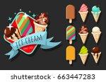 ice cream vector cartoon set of ... | Shutterstock .eps vector #663447283