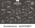 doodle elements of fruit and... | Shutterstock .eps vector #663454807
