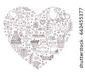 black and white wedding heart... | Shutterstock .eps vector #663455377