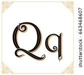 vector vintage font. letter and ... | Shutterstock .eps vector #663468607