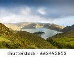 lake of fire  lagoa do fogo  in ... | Shutterstock . vector #663492853