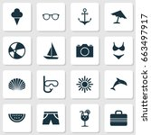 summer icons set. collection of ... | Shutterstock .eps vector #663497917