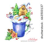 a cup of cream and a... | Shutterstock . vector #663503137