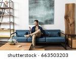 happy youthful guy bearded... | Shutterstock . vector #663503203