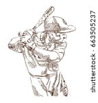 sketch of baseball player... | Shutterstock .eps vector #663505237