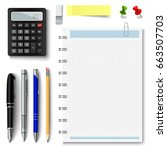 collection of office supplies... | Shutterstock .eps vector #663507703