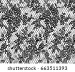 seamless vector black lace... | Shutterstock .eps vector #663511393