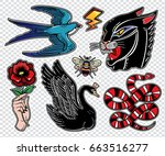 set of animals and items in... | Shutterstock .eps vector #663516277
