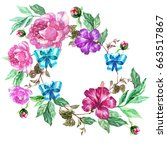 watercolor floral wreath and... | Shutterstock . vector #663517867