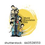 world population day  hand... | Shutterstock .eps vector #663528553