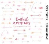 tribal arrows hand drawn ... | Shutterstock .eps vector #663535327
