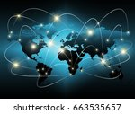 world map on a technological... | Shutterstock . vector #663535657