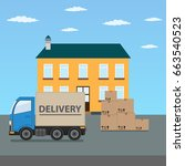 delivery truck with cardboard... | Shutterstock .eps vector #663540523