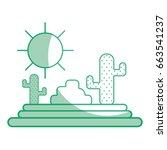 silhouette cactus with sun...   Shutterstock .eps vector #663541237