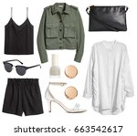 set of stylish clothes woman... | Shutterstock . vector #663542617