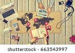 summer beach fun vacation... | Shutterstock . vector #663543997
