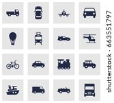 set of 16 transport icons set... | Shutterstock .eps vector #663551797