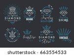 jewelry logo set or label... | Shutterstock .eps vector #663554533