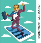businessman character with... | Shutterstock .eps vector #663556657