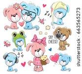 set of cute cartoon dogs on a... | Shutterstock . vector #663565273