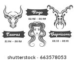 set of water zodiac signs.... | Shutterstock .eps vector #663578053