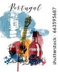 watercolor vector poster of... | Shutterstock .eps vector #663595687