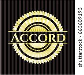 accord gold shiny badge   Shutterstock .eps vector #663609193